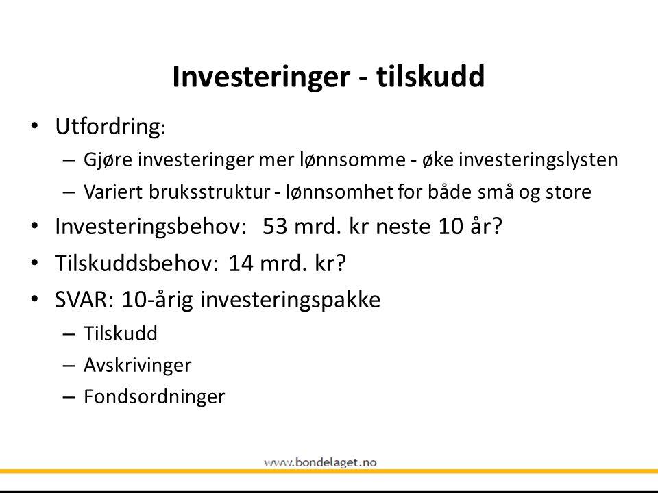 Investeringer - tilskudd Utfordring : – Gjøre investeringer mer lønnsomme - øke investeringslysten – Variert bruksstruktur - lønnsomhet for både små o