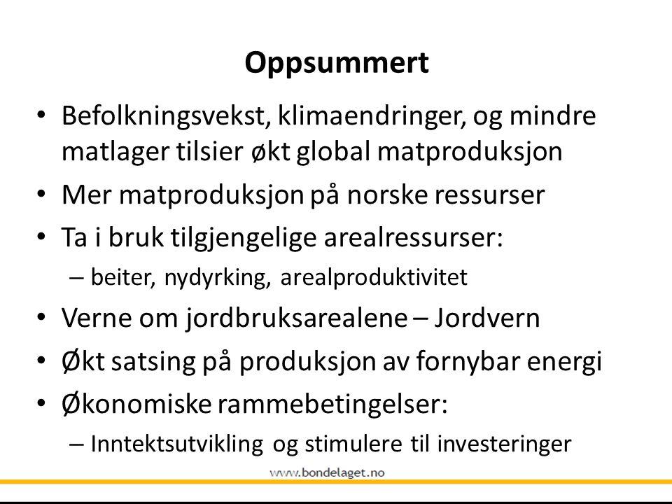 Oppsummert Befolkningsvekst, klimaendringer, og mindre matlager tilsier økt global matproduksjon Mer matproduksjon på norske ressurser Ta i bruk tilgj
