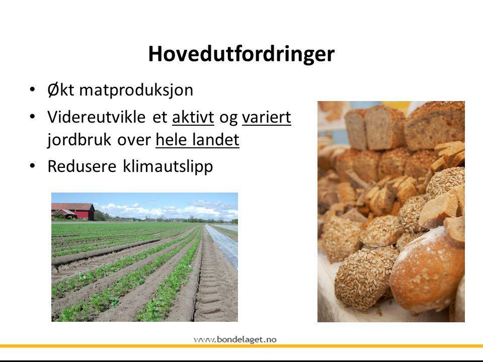 Hovedutfordringer Økt matproduksjon Videreutvikle et aktivt og variert jordbruk over hele landet Redusere klimautslipp