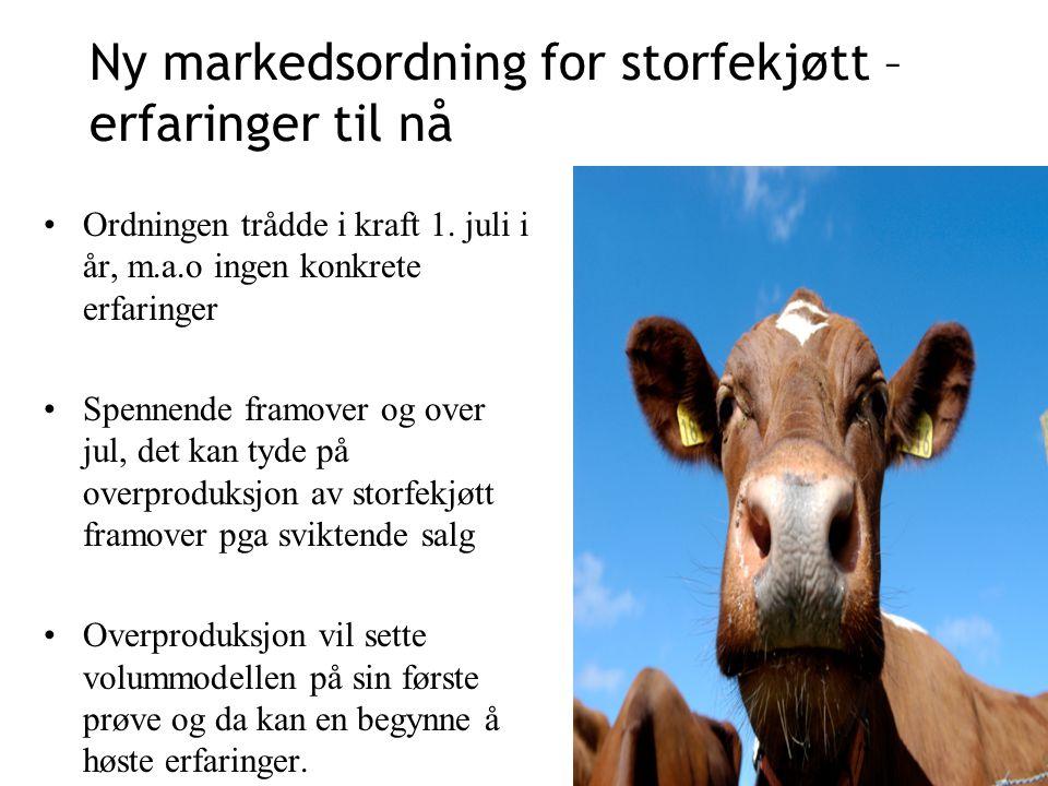 Ny markedsordning for storfekjøtt – erfaringer til nå Ordningen trådde i kraft 1.