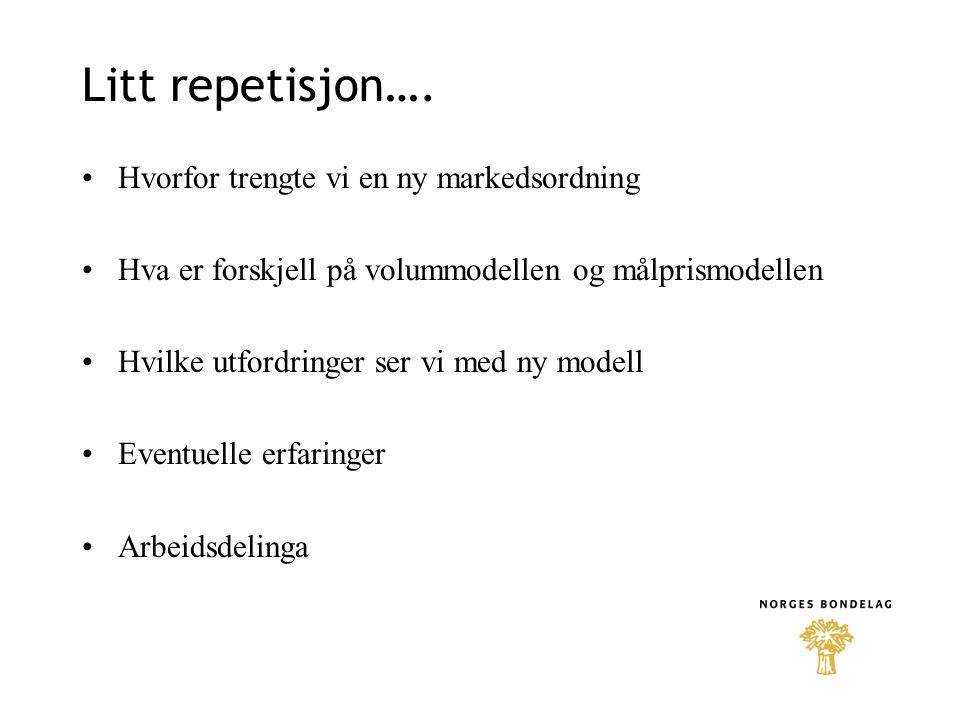 Endringer som nå er foreslått i ny avtale: Opprettes et råd for jordbruksavtalespørsmål Skal sikre partene innflytelse, samordning og samhandling De omsetningsorganisasjonene som var med i Rådet for pris- og produksjonsregulering skal fortsatt være med (=markedsregulatorene) + Norsk Landbrukssamvirke som observatør Min.2 møter, et før og et etter jordbruksforhandlingene Gjensidig informasjonsplikt under jordbruks- forhandlingene om saker av betydelig eller spesiell interesse.