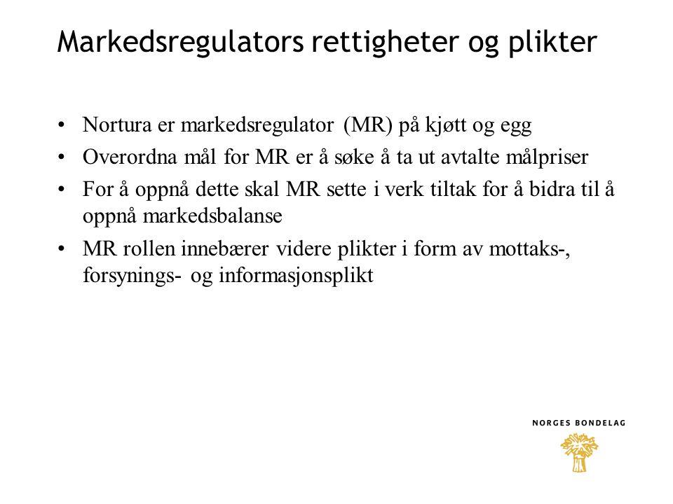 Markedsregulators rettigheter og plikter Nortura er markedsregulator (MR) på kjøtt og egg Overordna mål for MR er å søke å ta ut avtalte målpriser For å oppnå dette skal MR sette i verk tiltak for å bidra til å oppnå markedsbalanse MR rollen innebærer videre plikter i form av mottaks-, forsynings- og informasjonsplikt