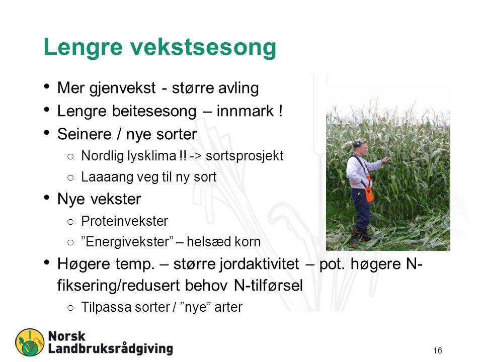 Lengre vekstsesong Mer gjenvekst - større avling Lengre beitesesong – innmark ! Seinere / nye sorter ○Nordlig lysklima !! -> sortsprosjekt ○Laaaang ve