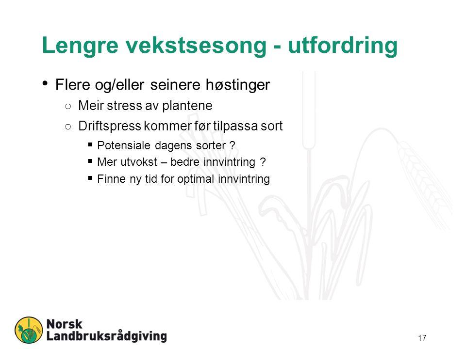 Lengre vekstsesong - utfordring Flere og/eller seinere høstinger ○Meir stress av plantene ○Driftspress kommer før tilpassa sort  Potensiale dagens sorter .
