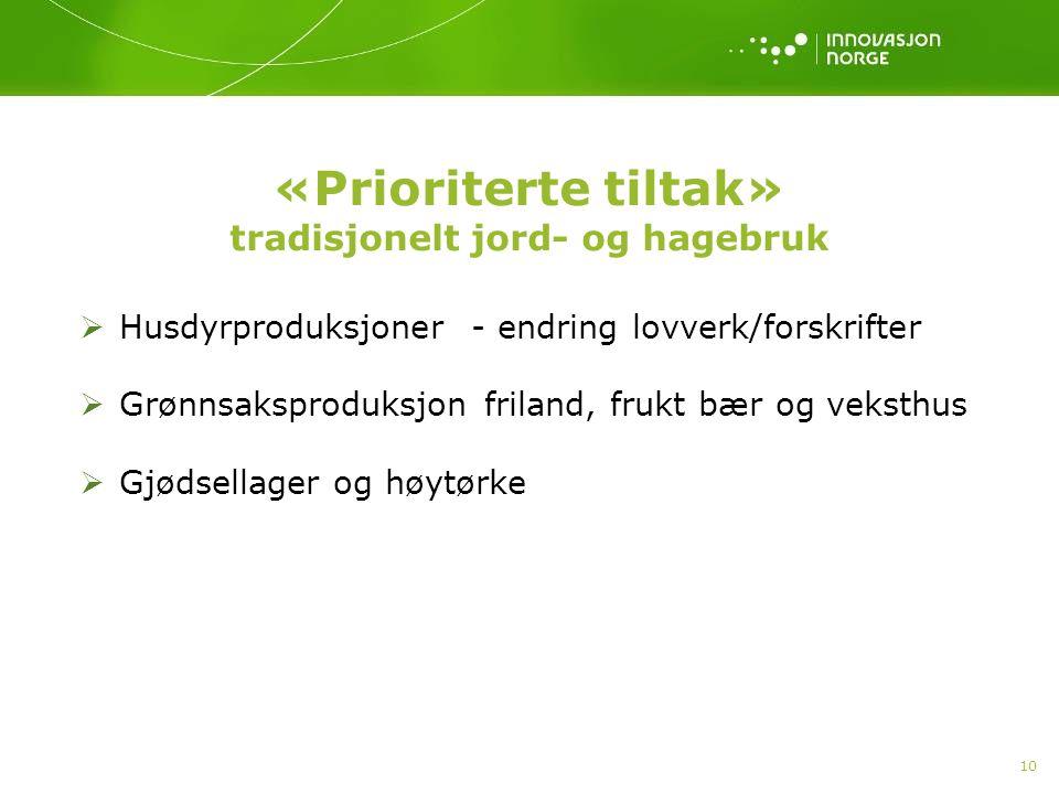 10  Husdyrproduksjoner - endring lovverk/forskrifter  Grønnsaksproduksjon friland, frukt bær og veksthus  Gjødsellager og høytørke «Prioriterte til
