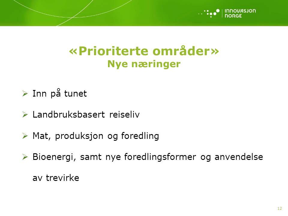 «Prioriterte områder» Nye næringer  Inn på tunet  Landbruksbasert reiseliv  Mat, produksjon og foredling  Bioenergi, samt nye foredlingsformer og
