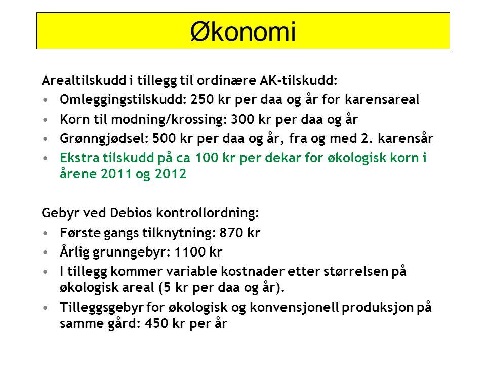 Økonomi Arealtilskudd i tillegg til ordinære AK-tilskudd: Omleggingstilskudd: 250 kr per daa og år for karensareal Korn til modning/krossing: 300 kr p