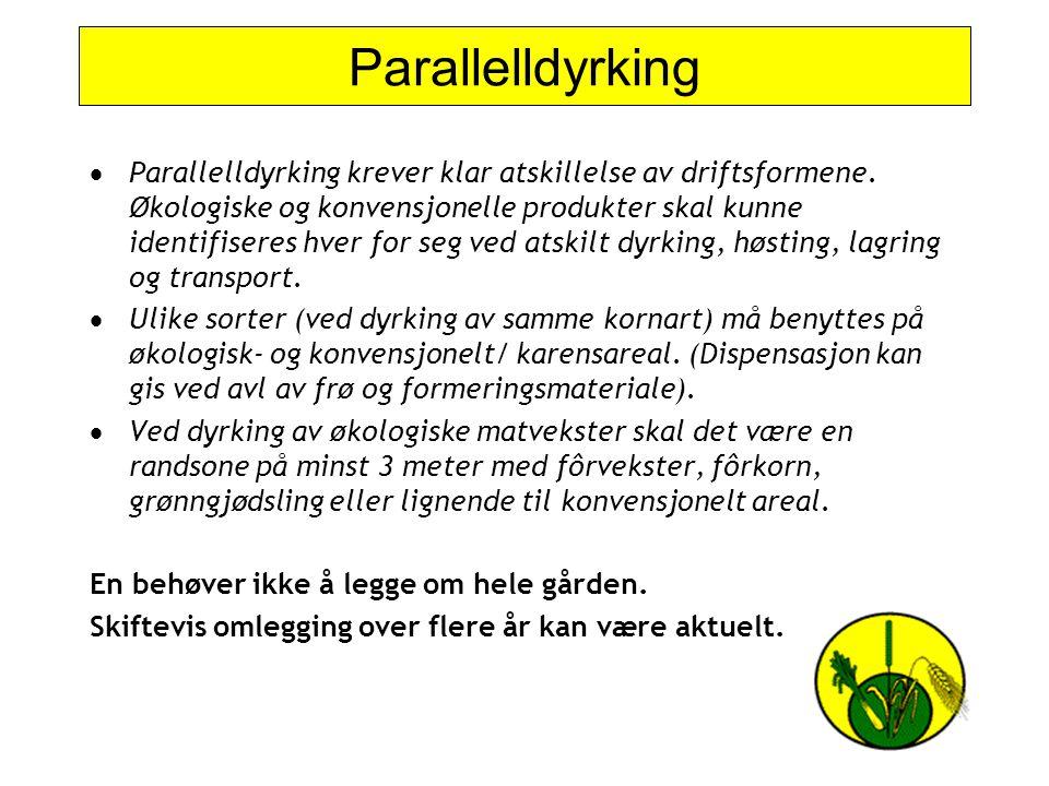 Parallelldyrking  Parallelldyrking krever klar atskillelse av driftsformene. Økologiske og konvensjonelle produkter skal kunne identifiseres hver for