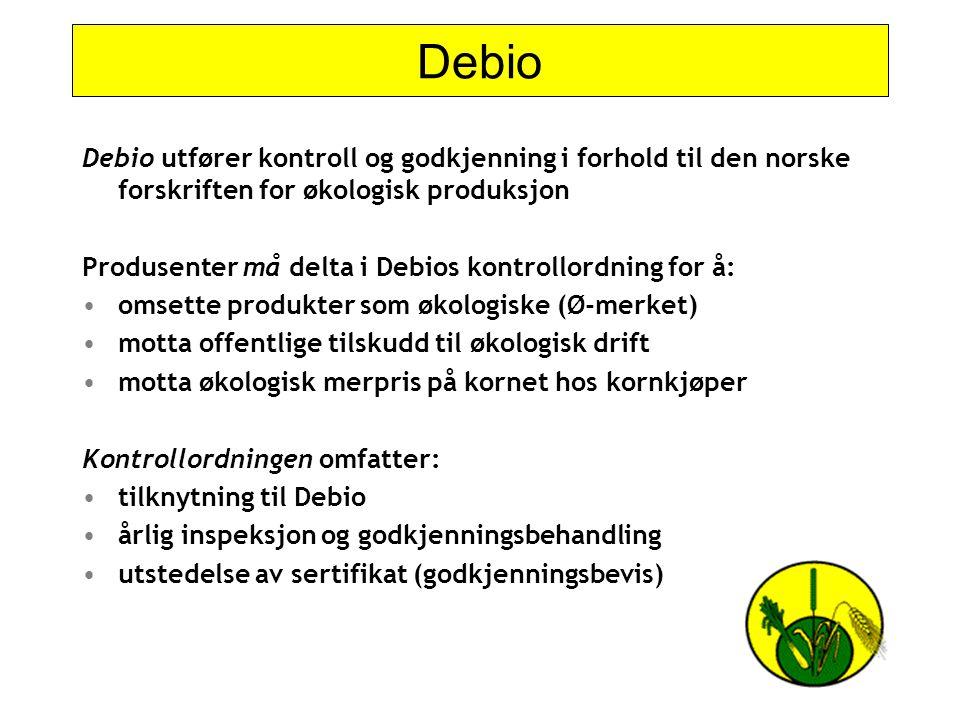 Debio Debio utfører kontroll og godkjenning i forhold til den norske forskriften for økologisk produksjon Produsenter må delta i Debios kontrollordnin