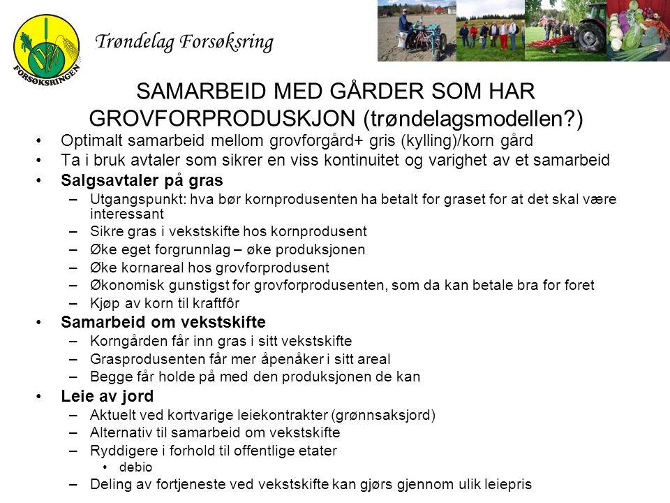 Trøndelag Forsøksring SAMARBEID MED GÅRDER SOM HAR GROVFORPRODUSKJON (trøndelagsmodellen?) Optimalt samarbeid mellom grovforgård+ gris (kylling)/korn