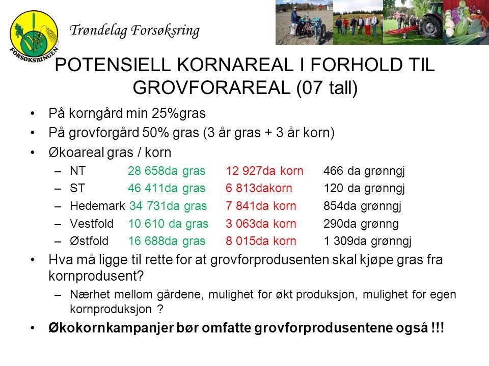 Trøndelag Forsøksring POTENSIELL KORNAREAL I FORHOLD TIL GROVFORAREAL (07 tall) På korngård min 25%gras På grovforgård 50% gras (3 år gras + 3 år korn