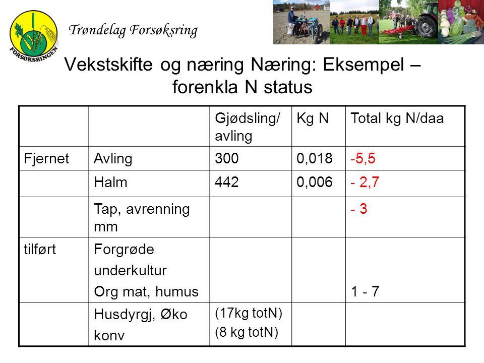 Trøndelag Forsøksring Vekstskifte og næring Næring: Eksempel – forenkla N status Gjødsling/ avling Kg NTotal kg N/daa FjernetAvling3000,018-5,5 Halm44