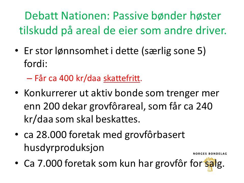 Debatt Nationen: Passive bønder høster tilskudd på areal de eier som andre driver. Er stor lønnsomhet i dette (særlig sone 5) fordi: – Får ca 400 kr/d
