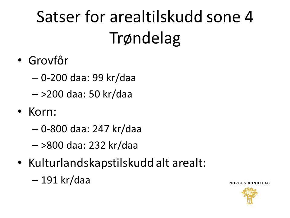 Satser for arealtilskudd sone 4 Trøndelag Grovfôr – 0-200 daa: 99 kr/daa – >200 daa: 50 kr/daa Korn: – 0-800 daa: 247 kr/daa – >800 daa: 232 kr/daa Ku