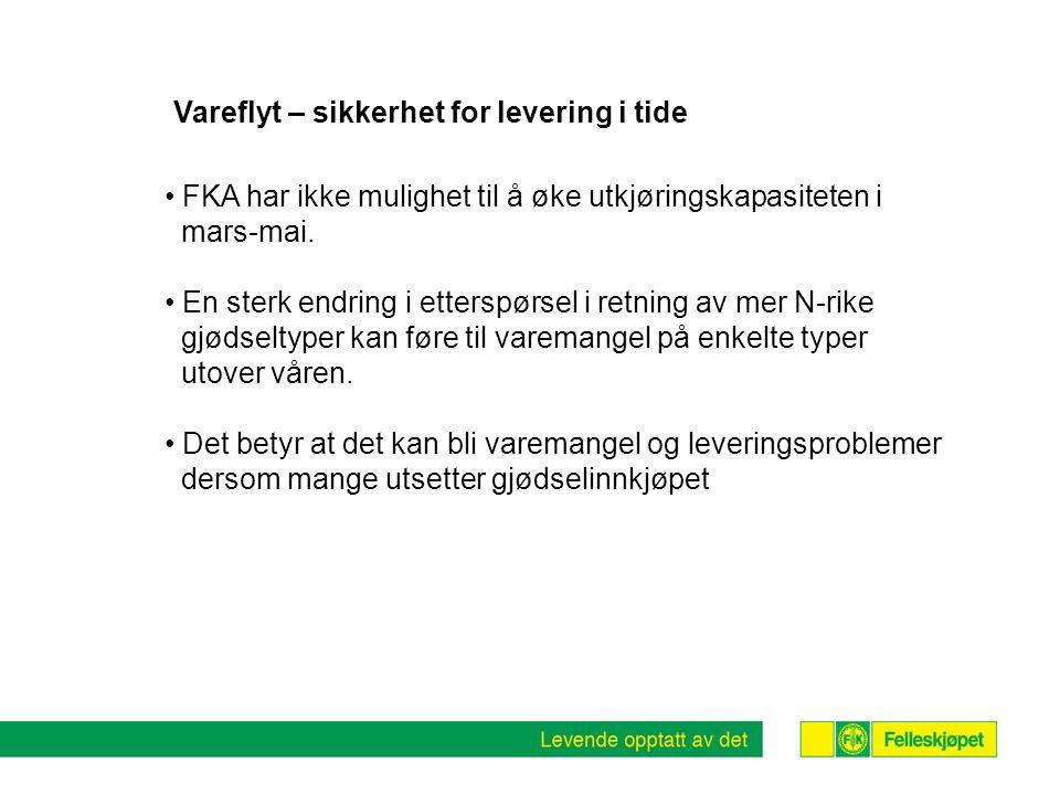 Vareflyt – sikkerhet for levering i tide FKA har ikke mulighet til å øke utkjøringskapasiteten i mars-mai.