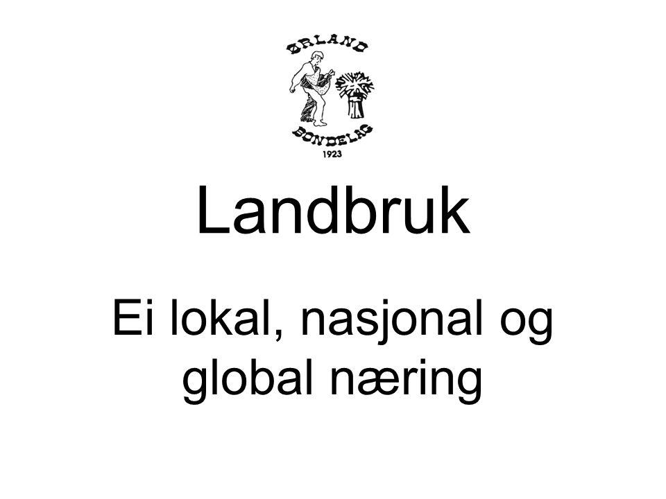 Landbruk i Ørland Volum og betydning lokalt Landbruket betydning nasjonalt Jordbruksforhandlinger Landbruk i globalt perspektiv