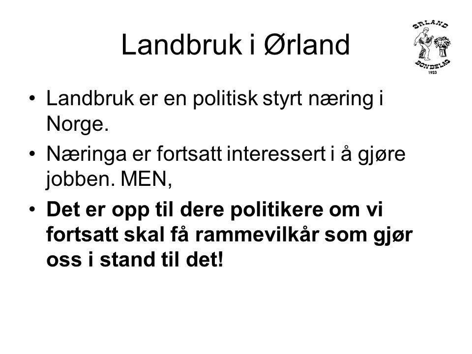 Landbruk i Ørland Landbruk er en politisk styrt næring i Norge.