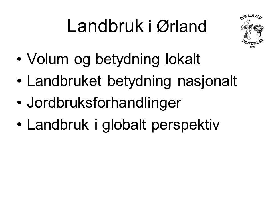Landbruk i Ørland Vi har forbrukerne med oss .Verdens klimaproblemer taler til vår fordel .