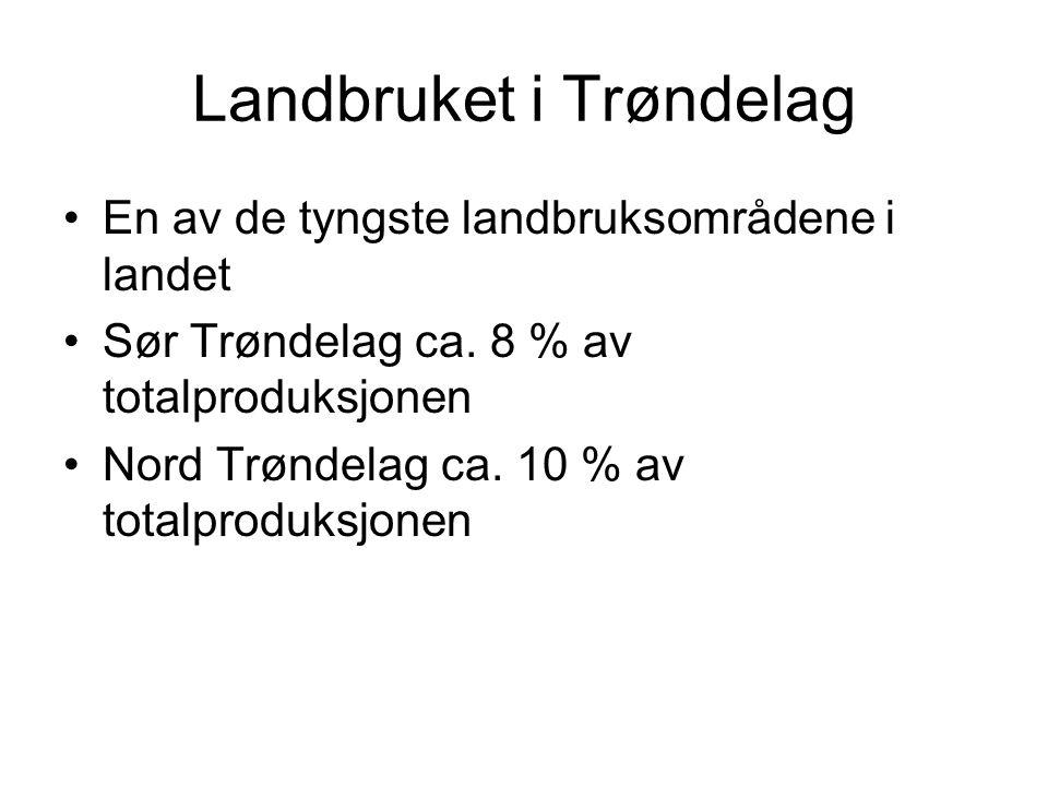 Landbruket i Trøndelag En av de tyngste landbruksområdene i landet Sør Trøndelag ca. 8 % av totalproduksjonen Nord Trøndelag ca. 10 % av totalproduksj