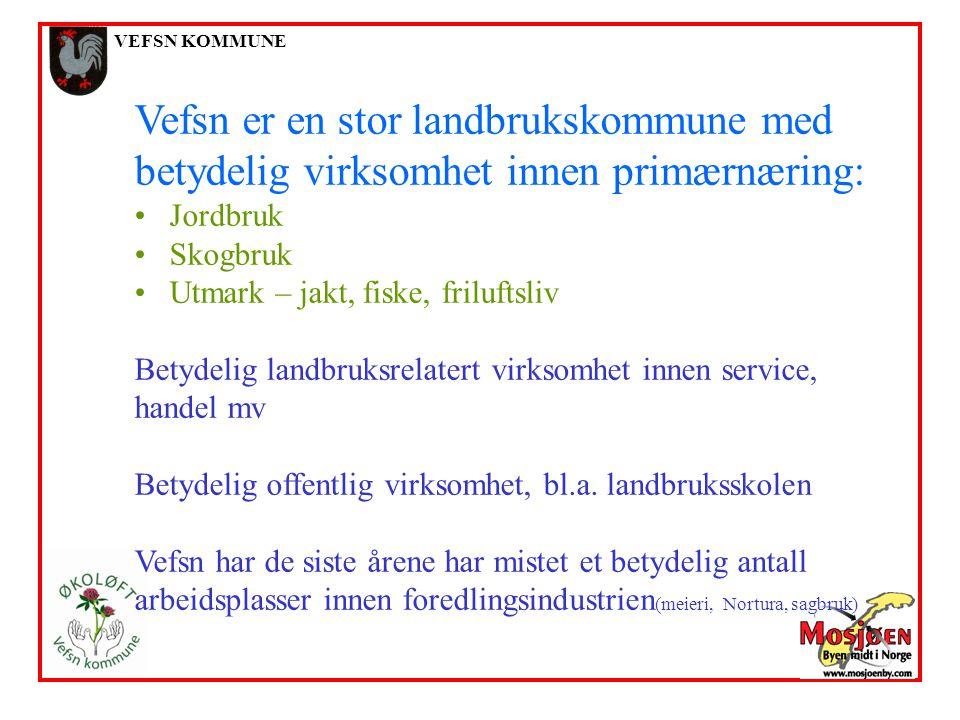 VEFSN KOMMUNE Vefsn er en stor landbrukskommune med betydelig virksomhet innen primærnæring: Jordbruk Skogbruk Utmark – jakt, fiske, friluftsliv Betyd
