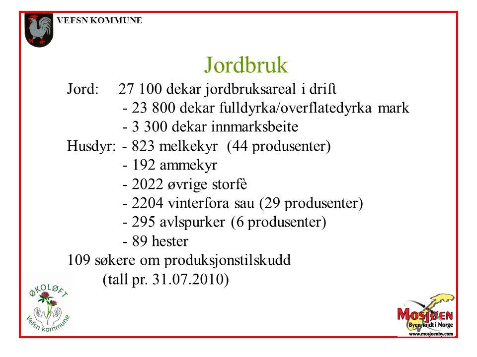 VEFSN KOMMUNE Jordbruk Jord: 27 100 dekar jordbruksareal i drift - 23 800 dekar fulldyrka/overflatedyrka mark - 3 300 dekar innmarksbeite Husdyr: - 82