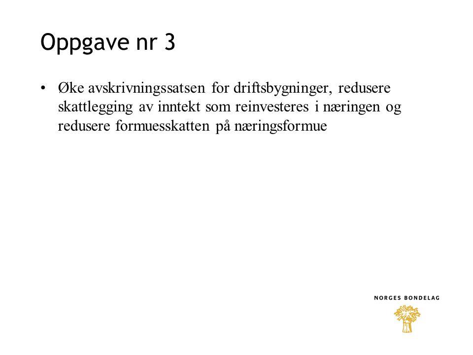 Oppgave nr 3 Øke avskrivningssatsen for driftsbygninger, redusere skattlegging av inntekt som reinvesteres i næringen og redusere formuesskatten på næringsformue