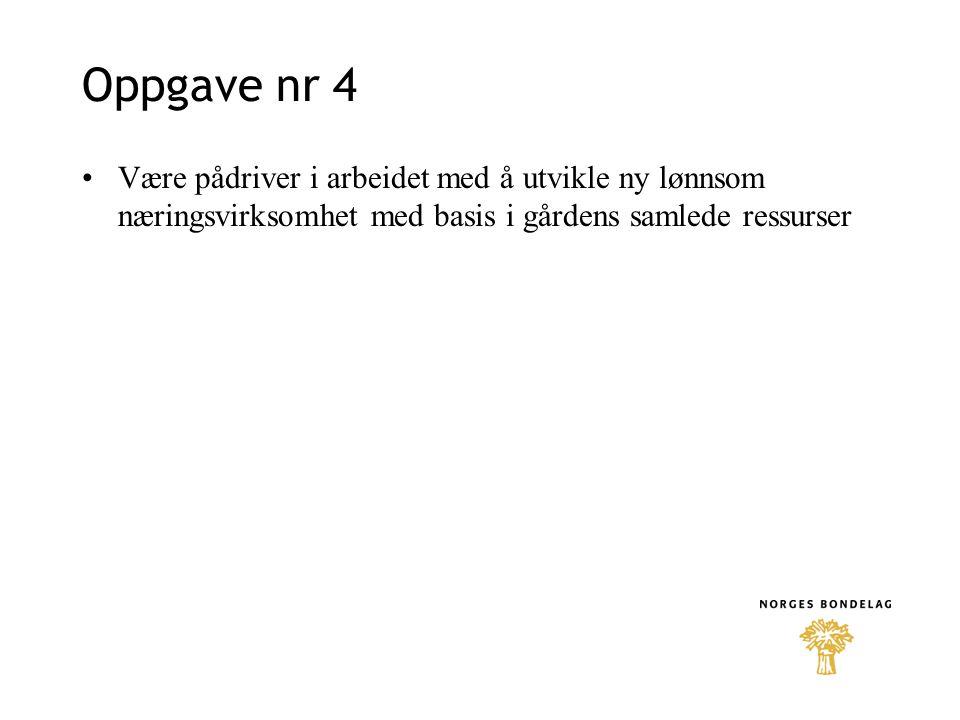 Oppgave nr 4 Være pådriver i arbeidet med å utvikle ny lønnsom næringsvirksomhet med basis i gårdens samlede ressurser