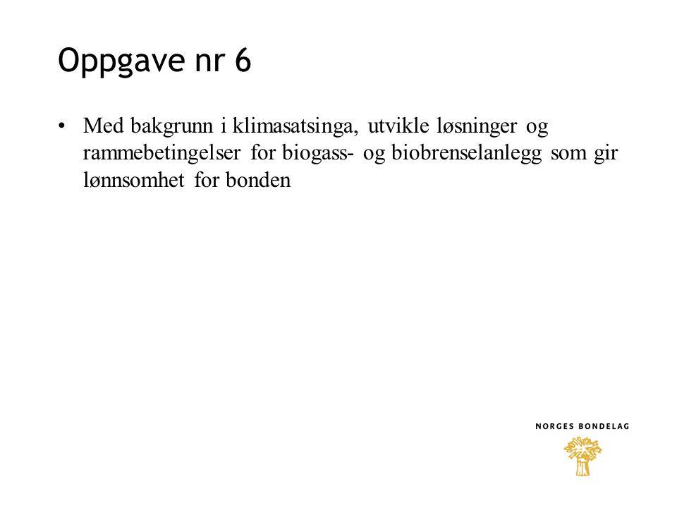Oppgave nr 6 Med bakgrunn i klimasatsinga, utvikle løsninger og rammebetingelser for biogass- og biobrenselanlegg som gir lønnsomhet for bonden