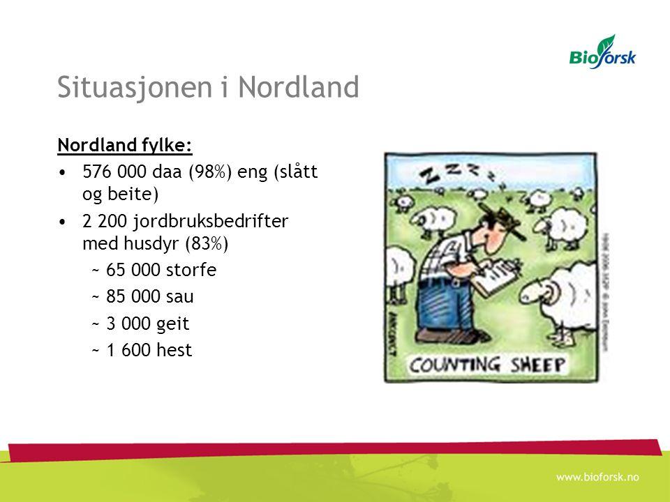 Situasjonen i Nordland Nordland fylke: 576 000 daa (98%) eng (slått og beite) 2 200 jordbruksbedrifter med husdyr (83%) ~ 65 000 storfe ~ 85 000 sau ~