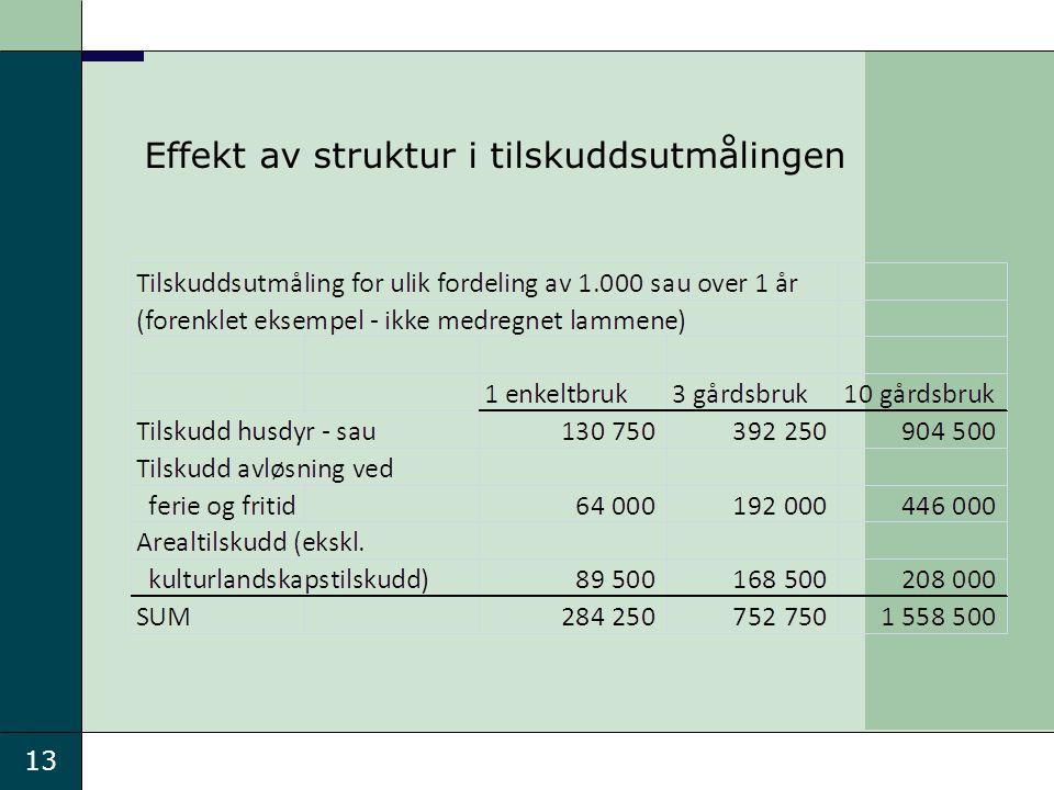 13 Effekt av struktur i tilskuddsutmålingen