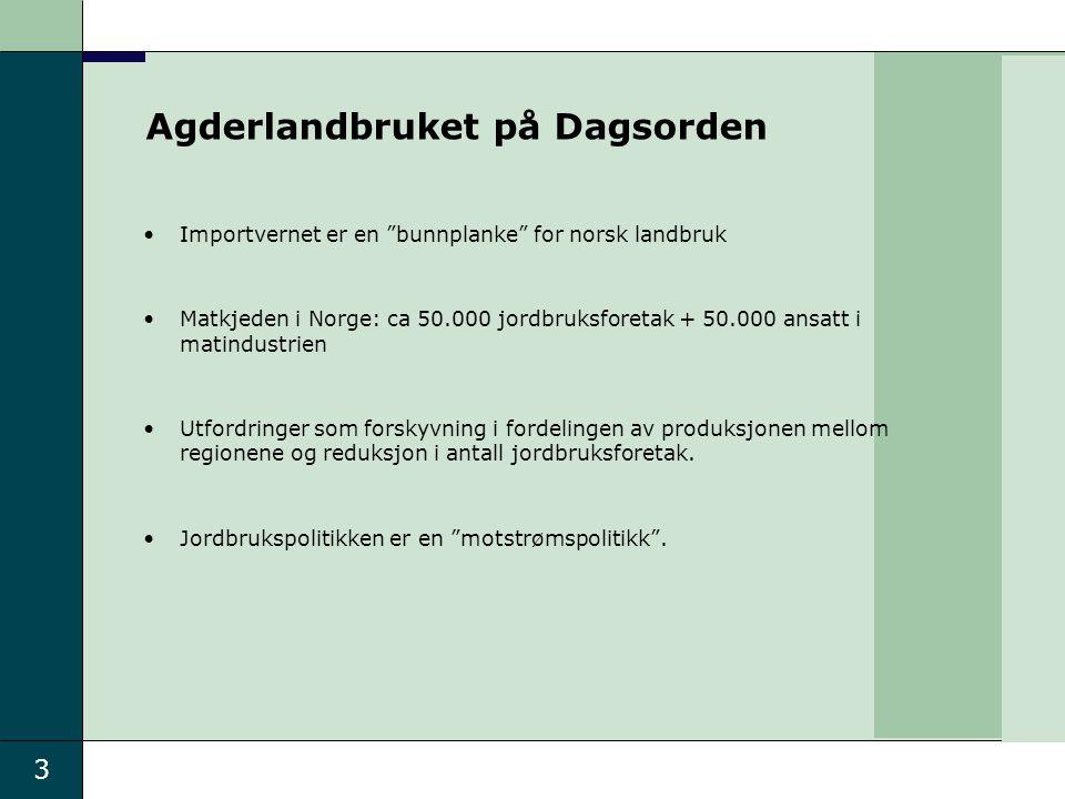 """3 Importvernet er en """"bunnplanke"""" for norsk landbruk Matkjeden i Norge: ca 50.000 jordbruksforetak + 50.000 ansatt i matindustrien Utfordringer som fo"""