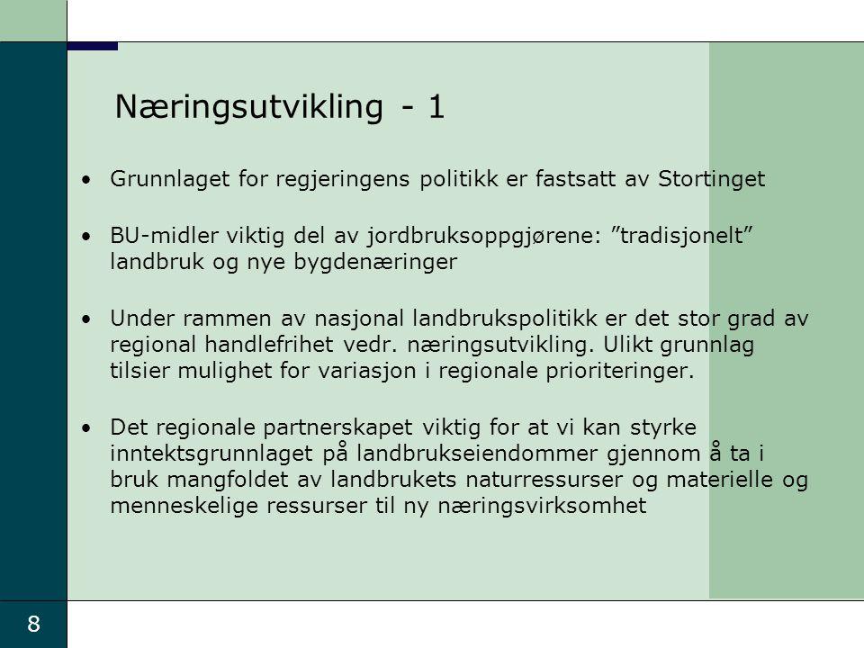 """8 Næringsutvikling - 1 Grunnlaget for regjeringens politikk er fastsatt av Stortinget BU-midler viktig del av jordbruksoppgjørene: """"tradisjonelt"""" land"""