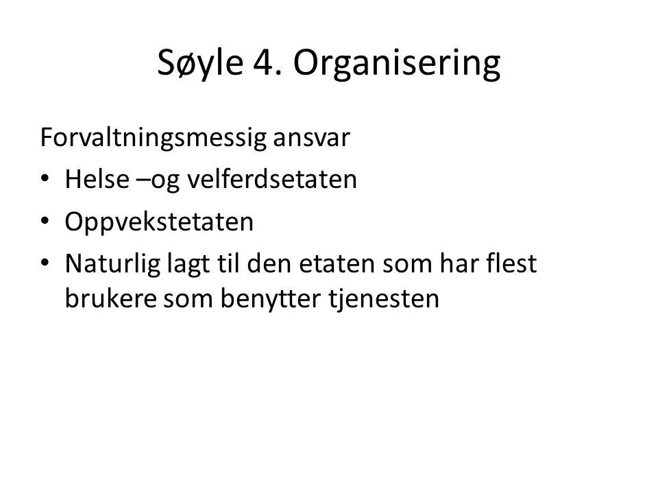 Søyle 4. Organisering Forvaltningsmessig ansvar Helse –og velferdsetaten Oppvekstetaten Naturlig lagt til den etaten som har flest brukere som benytte