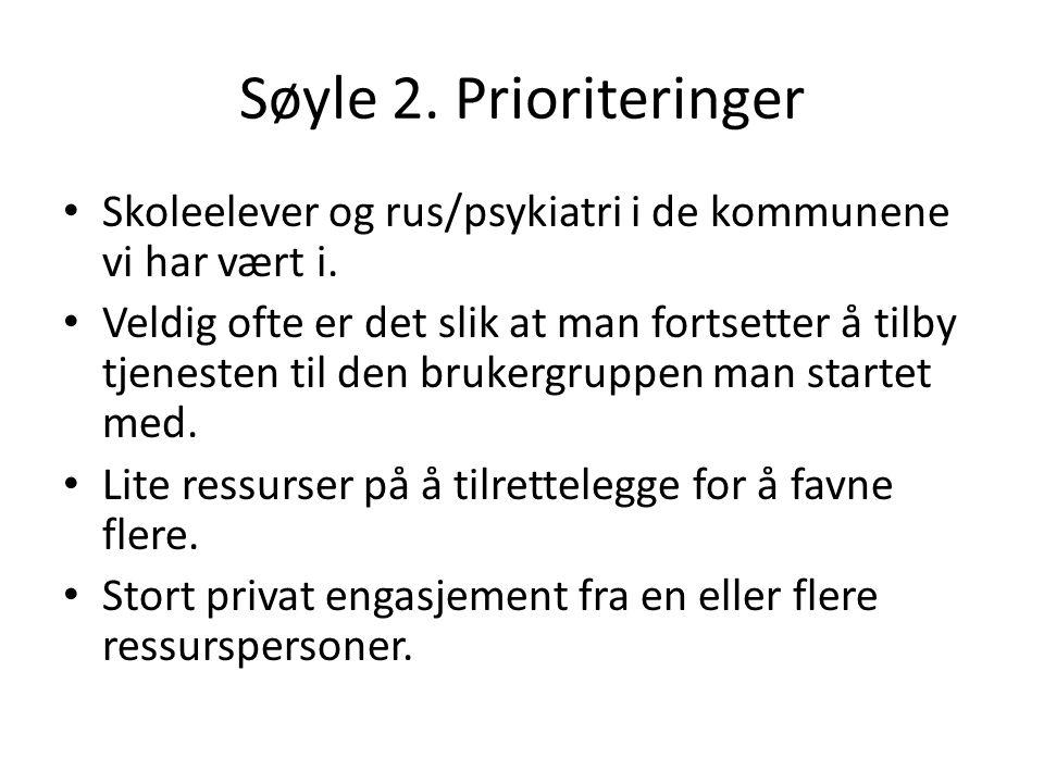 Søyle 2. Prioriteringer Skoleelever og rus/psykiatri i de kommunene vi har vært i. Veldig ofte er det slik at man fortsetter å tilby tjenesten til den