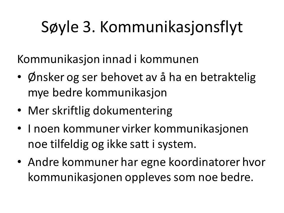 Søyle 3. Kommunikasjonsflyt Kommunikasjon innad i kommunen Ønsker og ser behovet av å ha en betraktelig mye bedre kommunikasjon Mer skriftlig dokument
