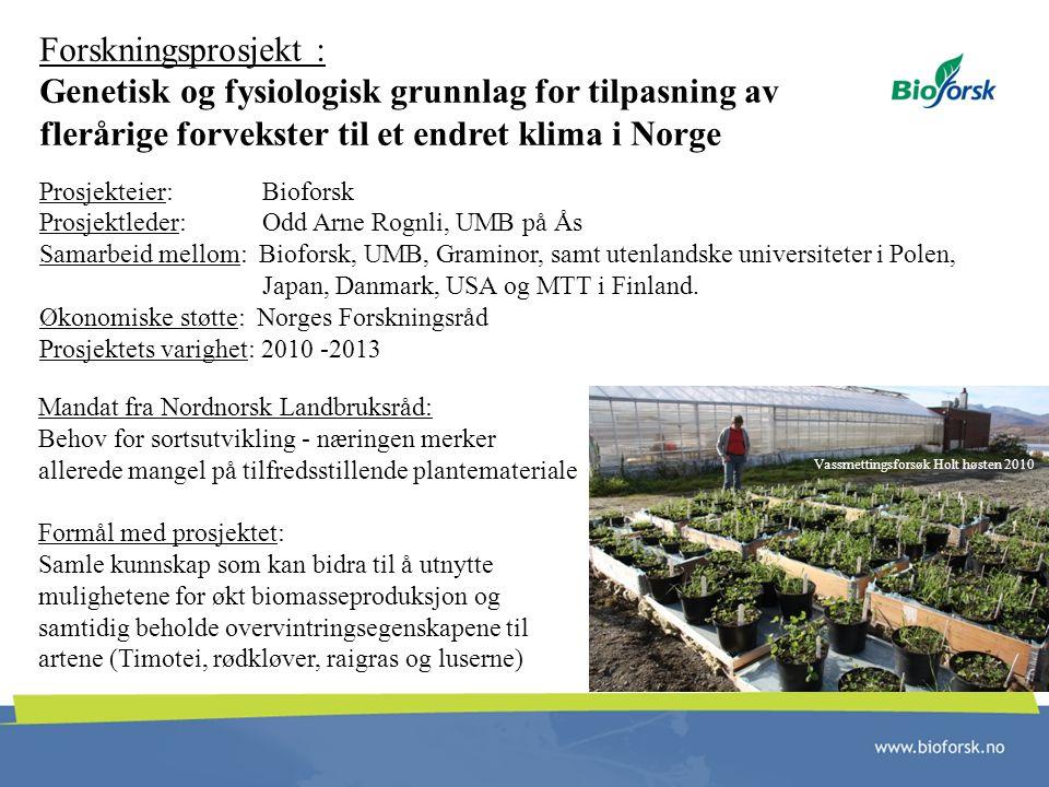 Forskningsprosjekt : Genetisk og fysiologisk grunnlag for tilpasning av flerårige forvekster til et endret klima i Norge Prosjekteier: Bioforsk Prosje