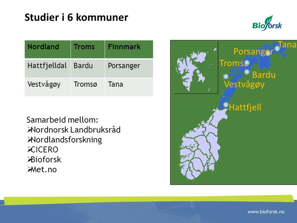 Studier i 6 kommuner Porsanger Tana Tromsø Bardu Hattfjell Vestvågøy NordlandTromsFinnmark HattfjelldalBarduPorsanger VestvågøyTromsøTana Samarbeid me
