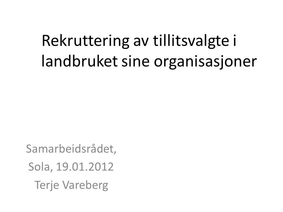 Rekruttering av tillitsvalgte i landbruket sine organisasjoner Samarbeidsrådet, Sola, 19.01.2012 Terje Vareberg