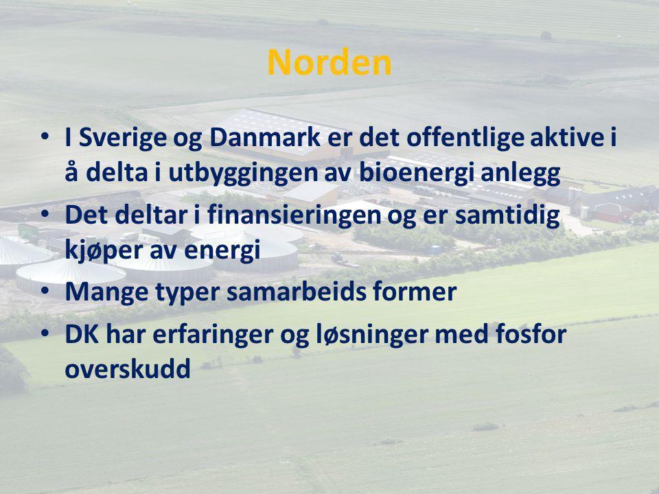 Norden I Sverige og Danmark er det offentlige aktive i å delta i utbyggingen av bioenergi anlegg Det deltar i finansieringen og er samtidig kjøper av energi Mange typer samarbeids former DK har erfaringer og løsninger med fosfor overskudd