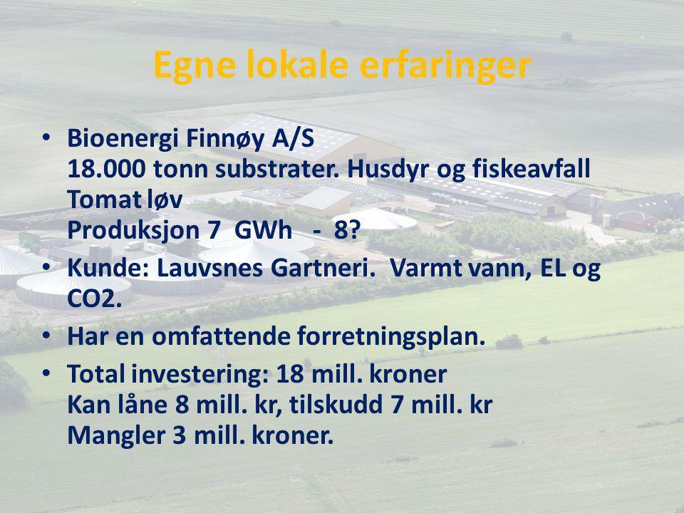 Egne lokale erfaringer Bioenergi Finnøy A/S 18.000 tonn substrater.