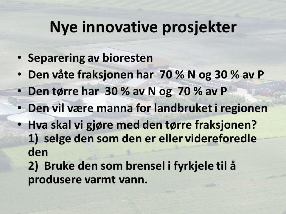 Nye innovative prosjekter Separering av bioresten Den våte fraksjonen har 70 % N og 30 % av P Den tørre har 30 % av N og 70 % av P Den vil være manna for landbruket i regionen Hva skal vi gjøre med den tørre fraksjonen.