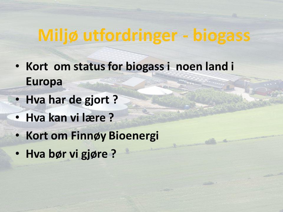 Miljø utfordringer - biogass Kort om status for biogass i noen land i Europa Hva har de gjort ? Hva kan vi lære ? Kort om Finnøy Bioenergi Hva bør vi
