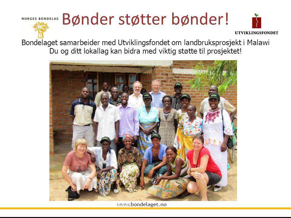 Bønder støtter bønder! Bondelaget samarbeider med Utviklingsfondet om landbruksprosjekt i Malawi Du og ditt lokallag kan bidra med viktig st ø tte til