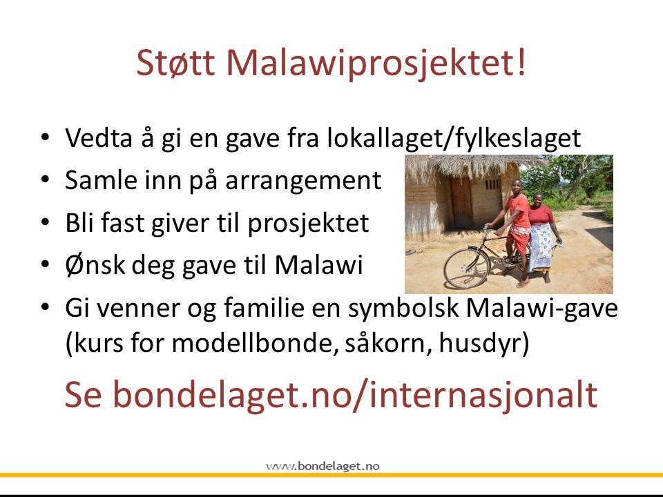 Støtt Malawiprosjektet! Vedta å gi en gave fra lokallaget/fylkeslaget Samle inn på arrangement Bli fast giver til prosjektet Ønsk deg gave til Malawi