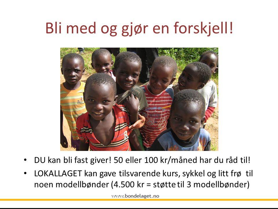 Bli med og gjør en forskjell! DU kan bli fast giver! 50 eller 100 kr/måned har du råd til! LOKALLAGET kan gave tilsvarende kurs, sykkel og litt frø ti