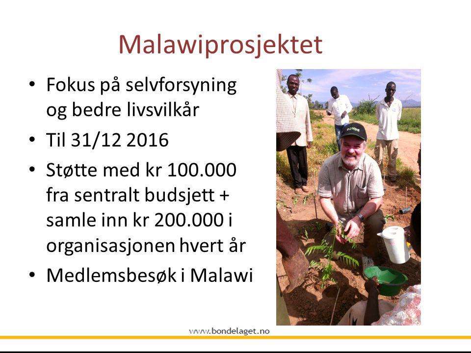 Malawiprosjektet Fokus på selvforsyning og bedre livsvilkår Til 31/12 2016 Støtte med kr 100.000 fra sentralt budsjett + samle inn kr 200.000 i organi