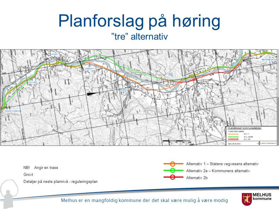 """Melhus er en mangfoldig kommune der det skal være mulig å være modig Planforslag på høring """"tre"""" alternativ Alternativ 1 – Statens vegvesens alternati"""