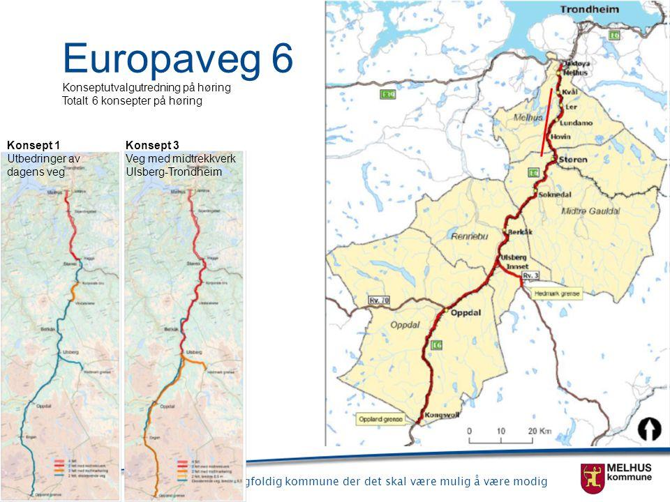 Melhus er en mangfoldig kommune der det skal være mulig å være modig Europaveg 6 Konseptutvalgutredning på høring Totalt 6 konsepter på høring Konsept