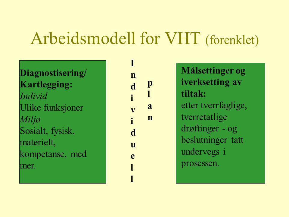 Arbeidsmodell for VHT (forenklet) Diagnostisering/ Kartlegging: Individ Ulike funksjoner Miljø Sosialt, fysisk, materielt, kompetanse, med mer. Indivi