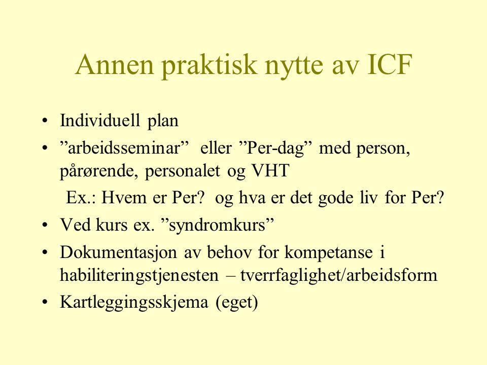 """Annen praktisk nytte av ICF Individuell plan """"arbeidsseminar"""" eller """"Per-dag"""" med person, pårørende, personalet og VHT Ex.: Hvem er Per? og hva er det"""